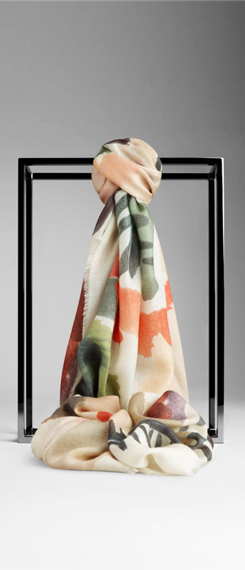 Burberry Hand-Painted Floral Cashmere Scarf