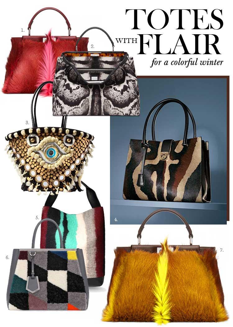 colorful winter designer totes 2014