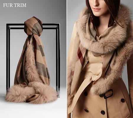 burberry-Fur-Trim-Cashmere-Check-Scarf