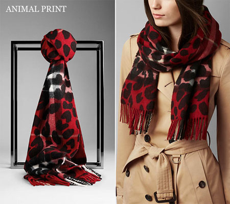 burberry-red-Animal-Print-Check-Cashmere-Scarf