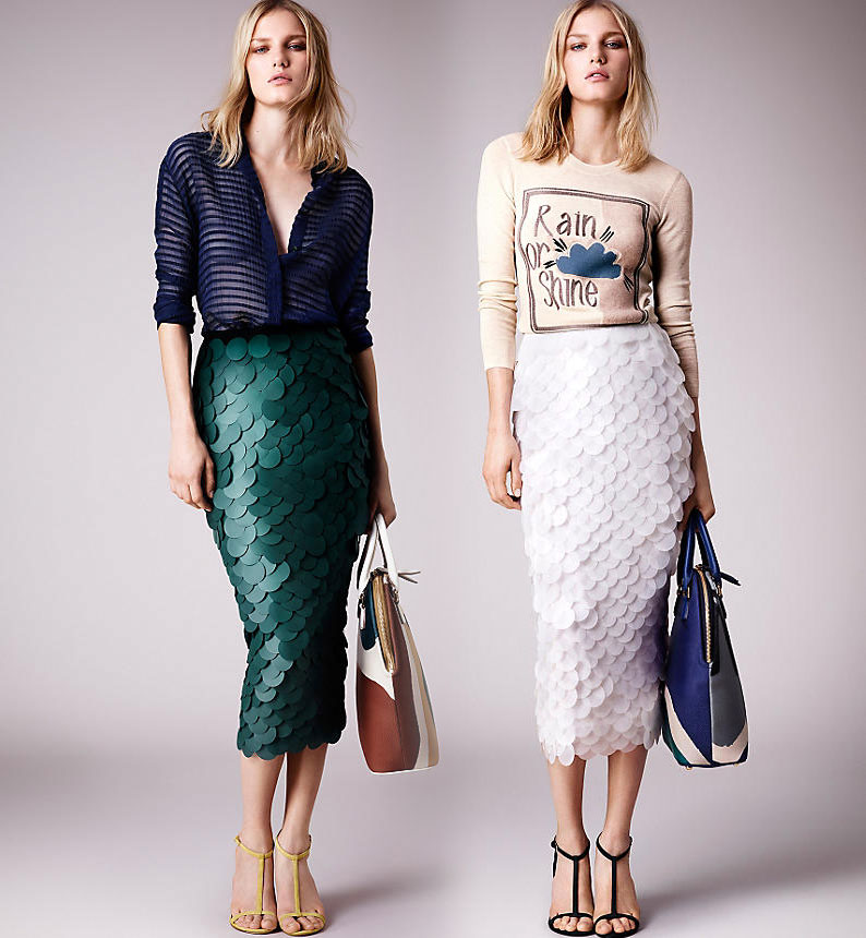 opaque sequin embroidered pencil skirts burberry prorsum ss 2015