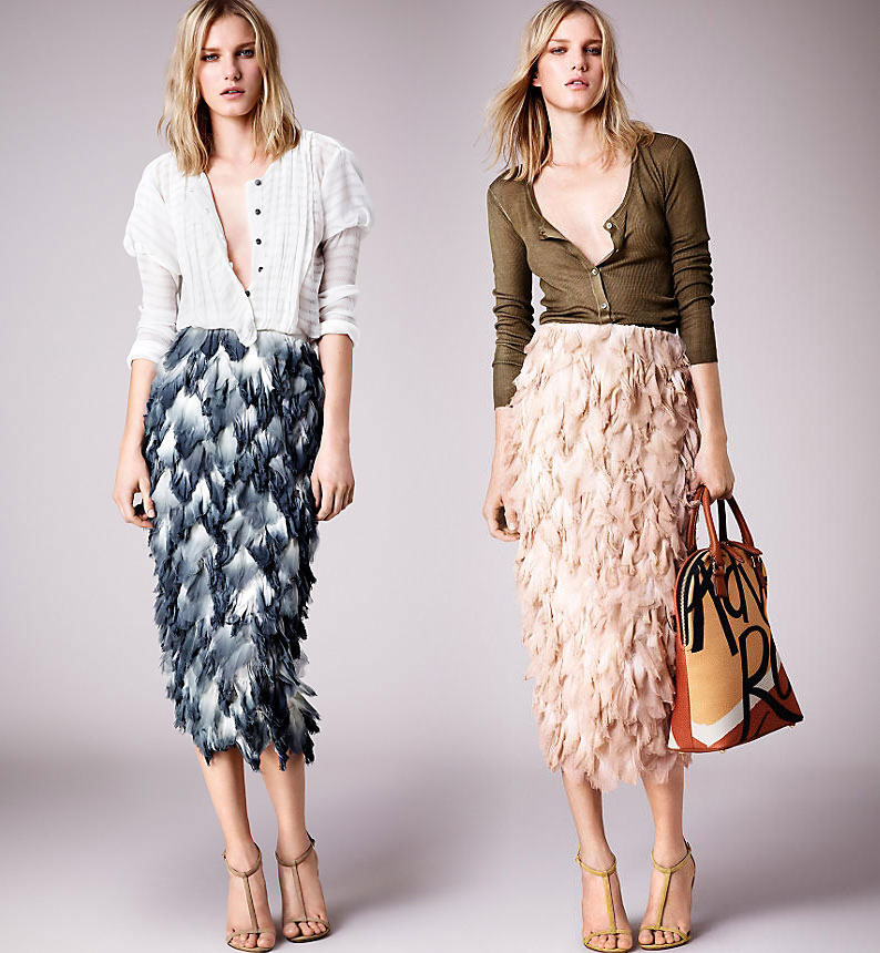 dip dye silk petal pencil skirts burberry prorsum ss 2015
