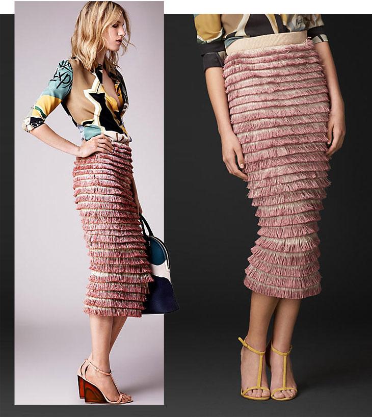 burberry prorsum ss 2015 hand painted layerd fringe pencil skirt