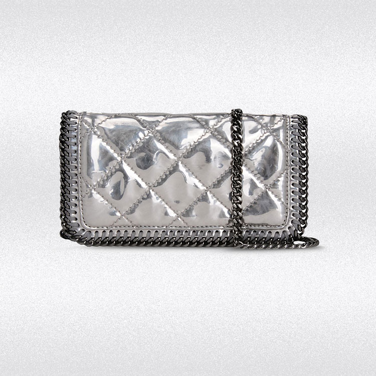 stella mccartney falabella quilted metallic crossbody bag