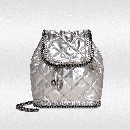 stella mccartney falabella quilted metallic mini backpack
