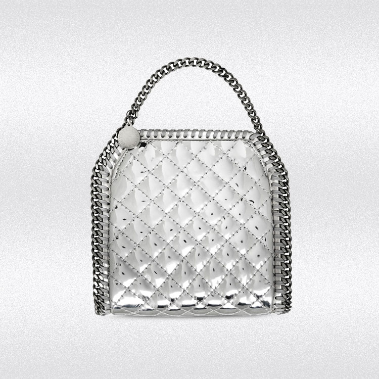 stella mccartney falabella quilted metallic tiny tote bag