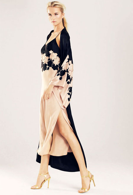 josie natori bold blossom embroidered robe