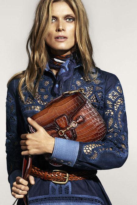 Gucci Lady Web Handbag Hand-Stained Crocodile Ad 1
