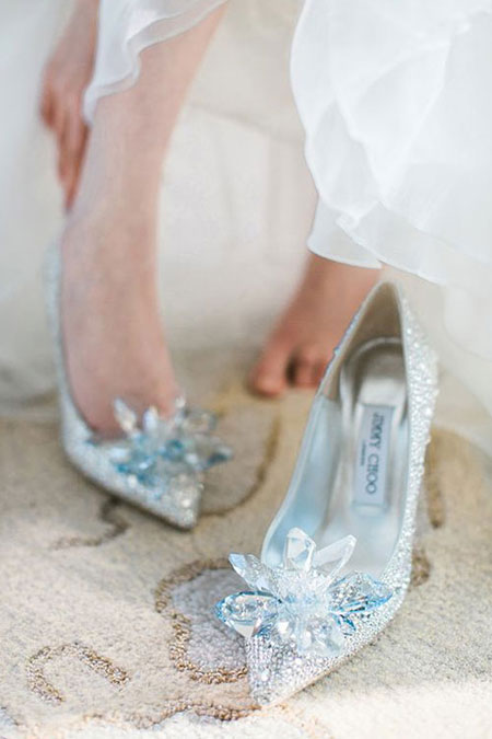 Jimmy Choo cinderella glass slipper with crystal-covered pointy toe pumps