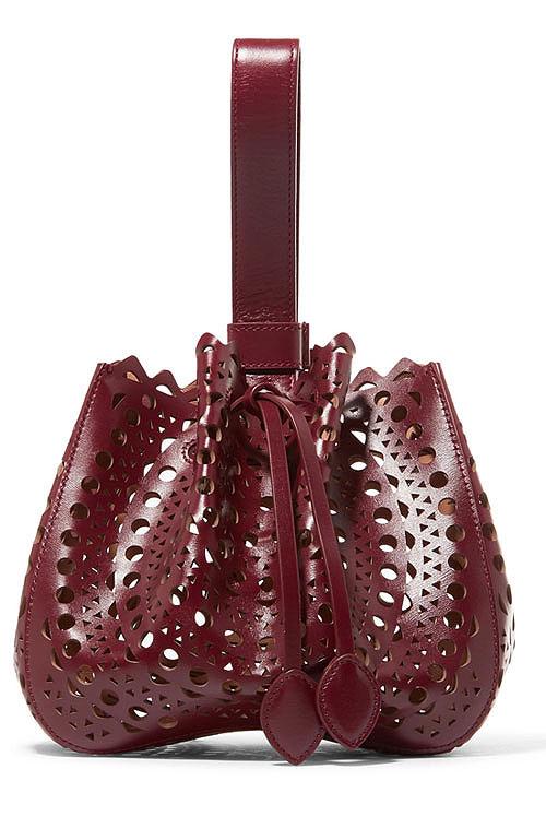 ALAÏA Laser-cut leather bucket bag