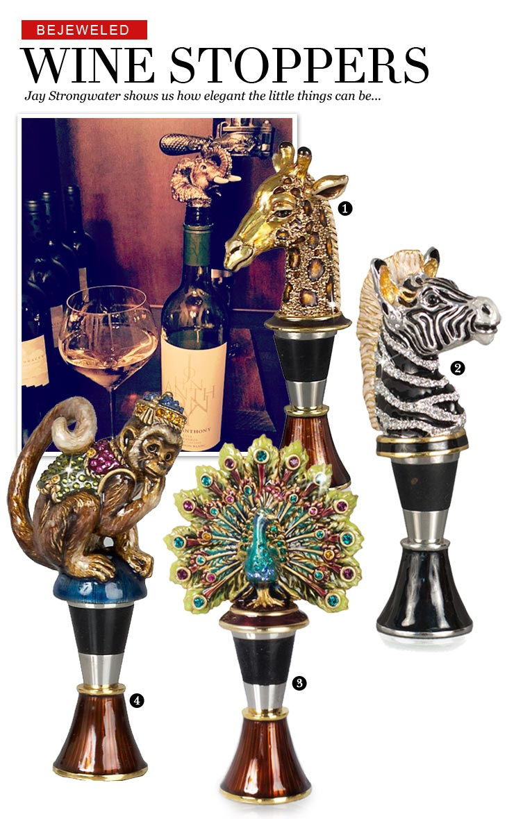 jay strongwater wine stoppers sale