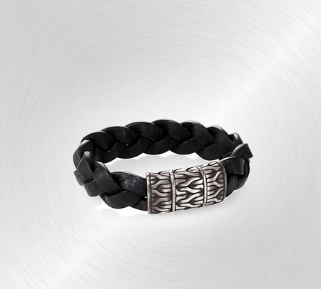 John Hardy Classic Chain Braided Leather & Silver Bracelet