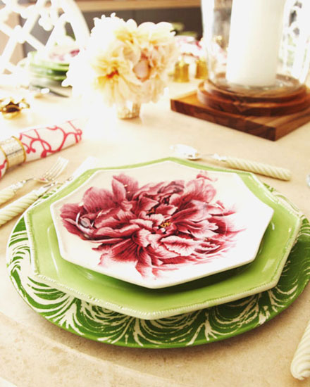 plates for spring table decoration setting