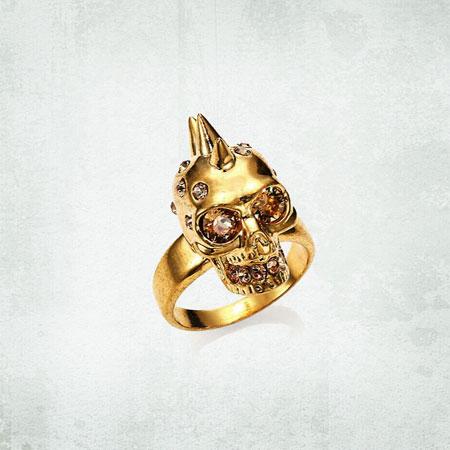Alexander McQueen Punk Skull Crystal Ring Goldtone