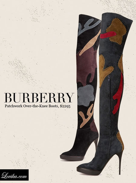Burberry   Patchwork Suede Over The Knee Boots