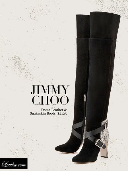 Jimmy Choo   Doma Leather & Snakeskin Over-The-Knee Boots
