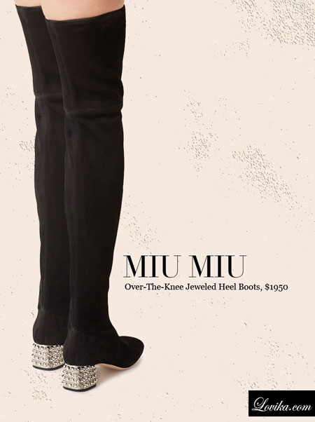 Miu Miu | Over-The-Knee Jeweled Heel Boots