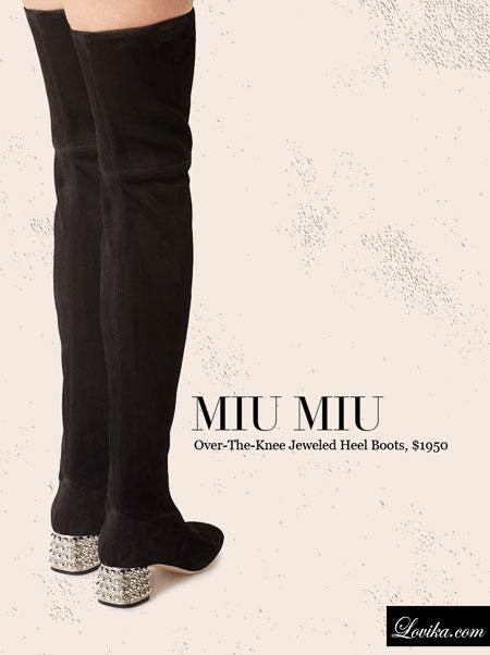 Miu Miu   Over-The-Knee Jeweled Heel Boots