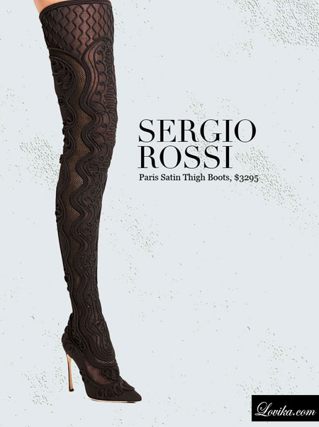 Sergio Rossi | Paris Satin Thigh Boots