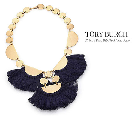 tory burch fringe disc bib necklace