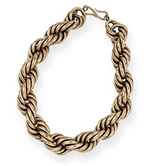 dries van noten brass twist chain choker necklace