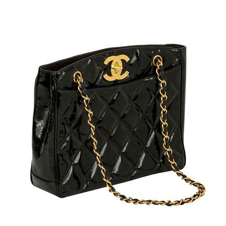 Chanel Vintage CC Black Patent Shopper Bag