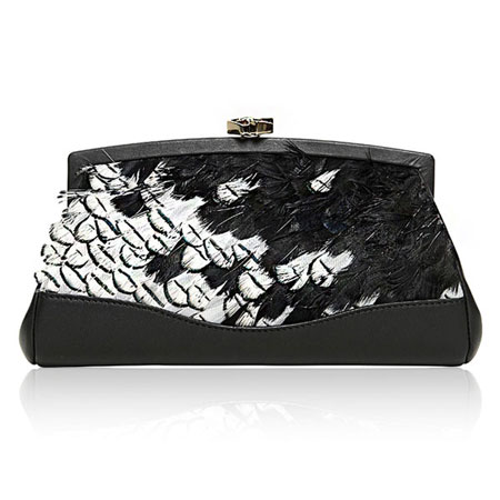 Desmo feathers leather clutch bag