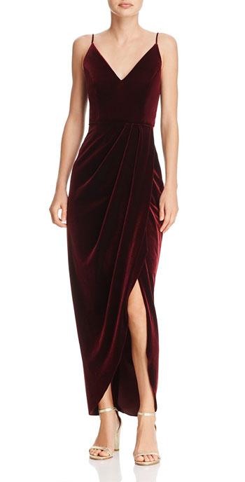 AQUA Velvet Faux-Wrap Dress
