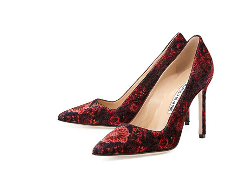 Manolo Blahnik BB Floral Velvet Point-Toe Pump