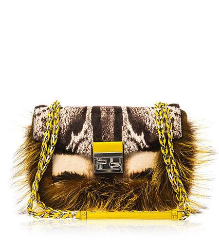 Fendi Calf-hair and fox-fur Baguette