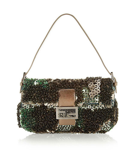 Fendi Paillette and bead-embellished silk Baguette