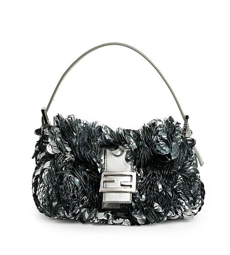 Fendi Paillette-Embellished Leather Baguette