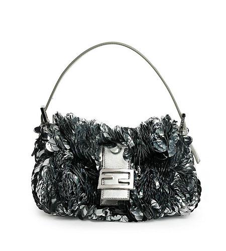 Fendi Paillette-Embellished Leather Baguette