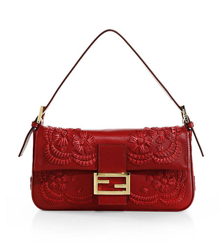 Fendi Medium Floral-Stitched Baguette