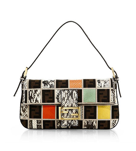 Fendi Zucca Medium Mixed-Media Check Baguette