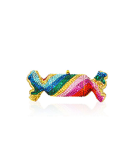Judith Leiber Rainbow Twist Crystal Candy Pillbox
