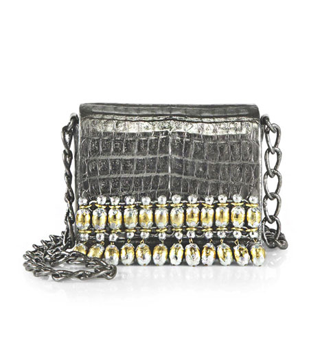 Nancy Gonzalez India Metallic Beaded Crocodile Chain Crossbody