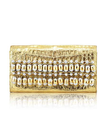 Nancy Gonzalez Metallic Bead-Fringe Crocodile Clutch