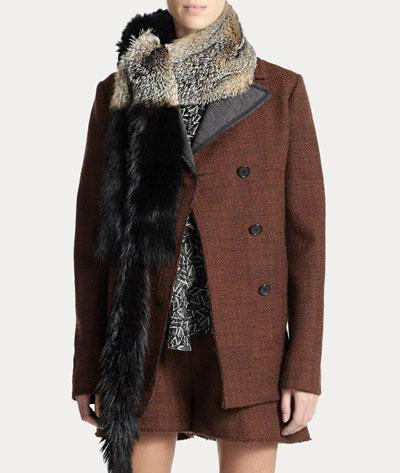 marni Bicolor Gray Fox Fur Stole scarf