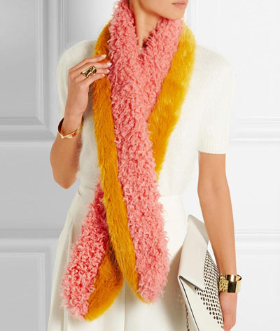Shrimps Moss faux fur scarf