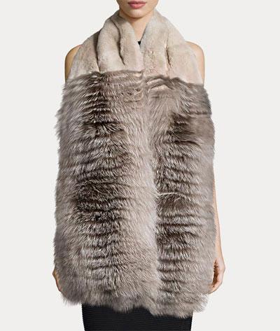 Lanvin Rabbit & Fox Fur Stole w/Pockets