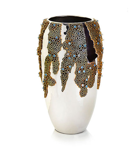 John-Richard Collection BRASS AND STONE ENCASED VASE