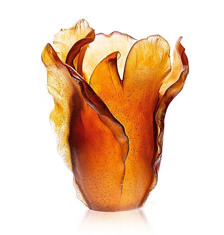 Daum Amber Tulip Vase