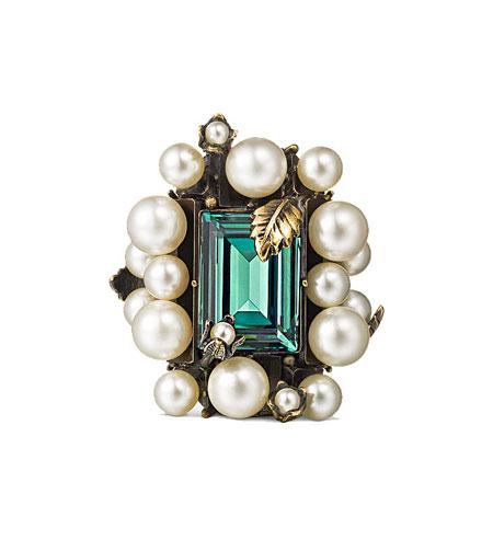 Crystal & pearl ring