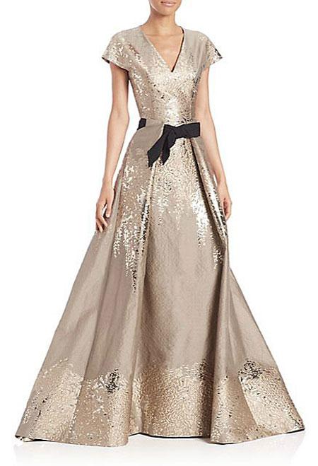 Carolina-Herrera-Westeria-Metallic-Jacquard-Gown