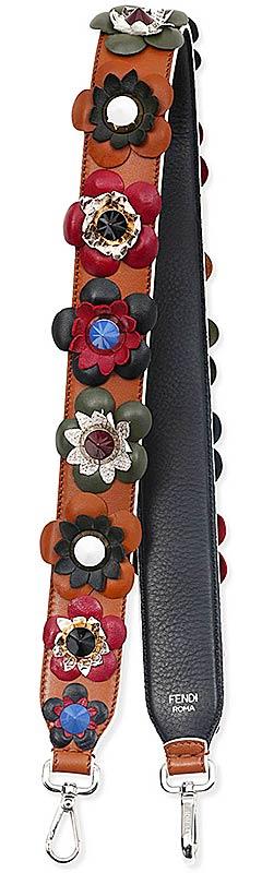 Fendi Floral Embellished Leather Handbag Shoulder Strap