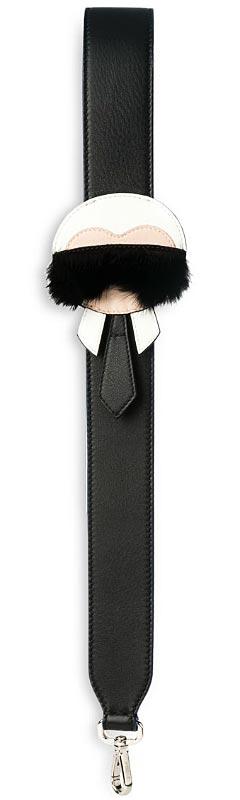 fendi Karlito leather and mink fur handbag shoulder strap