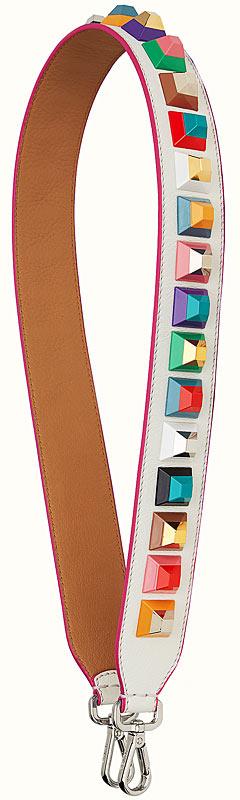 fendi strap you interchangeable white leather shoulder strap