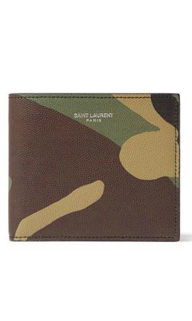 Saint Laurent Camouflage-Print Pebble-Grain Leather Billfold Wallet