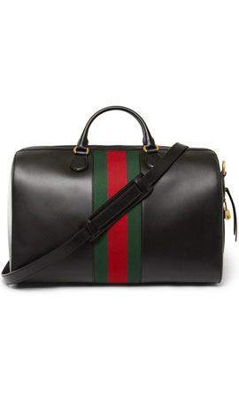 Gucci Canvas-Trimmed Leather Holdall